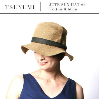 TSUYUMI zum JUTE SUN HAT w / Cotton Ribbon