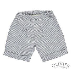 【OUTLET】 『英国王室ジョージ愛用ブランド』Olivier Baby&Kids オリビアベビー ネイビーストライプリネンショートパンツ