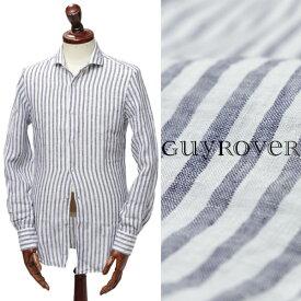 GUY ROVER ギ ローバーリネン ストライプ シャツ W2760L ネイビー × ホワイト【送料無料】w2760c-nac 100【返品不可】