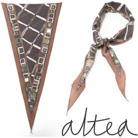 ALTEA / アルテア / コットンシルク / レトロ柄 / 菱形ネッカチーフ / ブラウン 1960005-br 100
