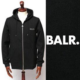 ボーラー BALR Q-SERIES ZIPPED HOODIE プレートロゴ ジップアップ スウェット パーカー ブラック × シルバー 130492527-blsv 100