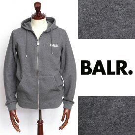 ボーラー BALR Q-SERIES ZIPPED HOODIE プレートロゴ ジップアップ スウェット パーカー ダークグレー × シルバー 130492527-dgy 100