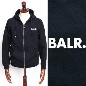 ボーラー BALR Q-SERIES ZIPPED HOODIE プレートロゴ ジップアップ スウェット パーカー ネイビー × シルバー 130492527-na 100