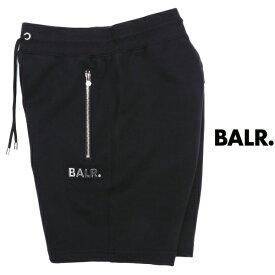 ボーラー BALR Q-SERIES CLASSIC SWEAT SHORTS プレートロゴ パンツ ブラック × シルバー b10010-bl 100