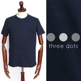 スリードッツ / three dots / サンデッドジャージー /コットン / クルーネック / ポケT カットソー / ネイビー bo149my-na 100
