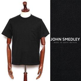 JOHN SMEDLEY ジョン・スメドレー シーアイランドコットン 24ゲージ 半袖 クルーネック 胸ポケ ニット BLACK ブラック s4509-bl 100