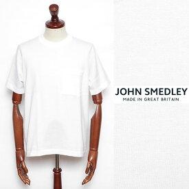 JOHN SMEDLEY ジョン・スメドレー シーアイランドコットン 24ゲージ 半袖 クルーネック 胸ポケ ニット WHITE ホワイト s4509-w 100
