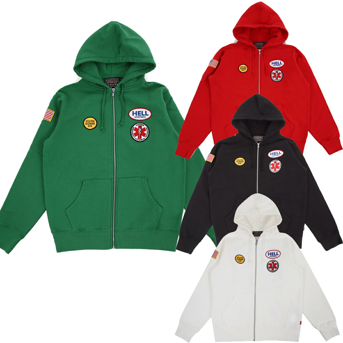 SUPREME x Hysteric Glamour シュプリーム x ヒステリックグラマーPatches Zip Up Sweat Shirtアメリカ ニューヨーク直営店買付分【あす楽対応_関東】