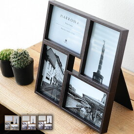 【よりどり送料無料】 ハロウ 4 フォトフレーム 壁掛け 置き型 プレゼント 複数 木製 北欧 写真立て L版 4枚 おしゃれ