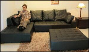 ソファソファー3人掛けカウチソファl字本革ローソファイタリアブランド革ラグジュアリーオットマン付きクッション付きホワイト白12色対応設置対応可(別途)931bp-2p-couch-ot