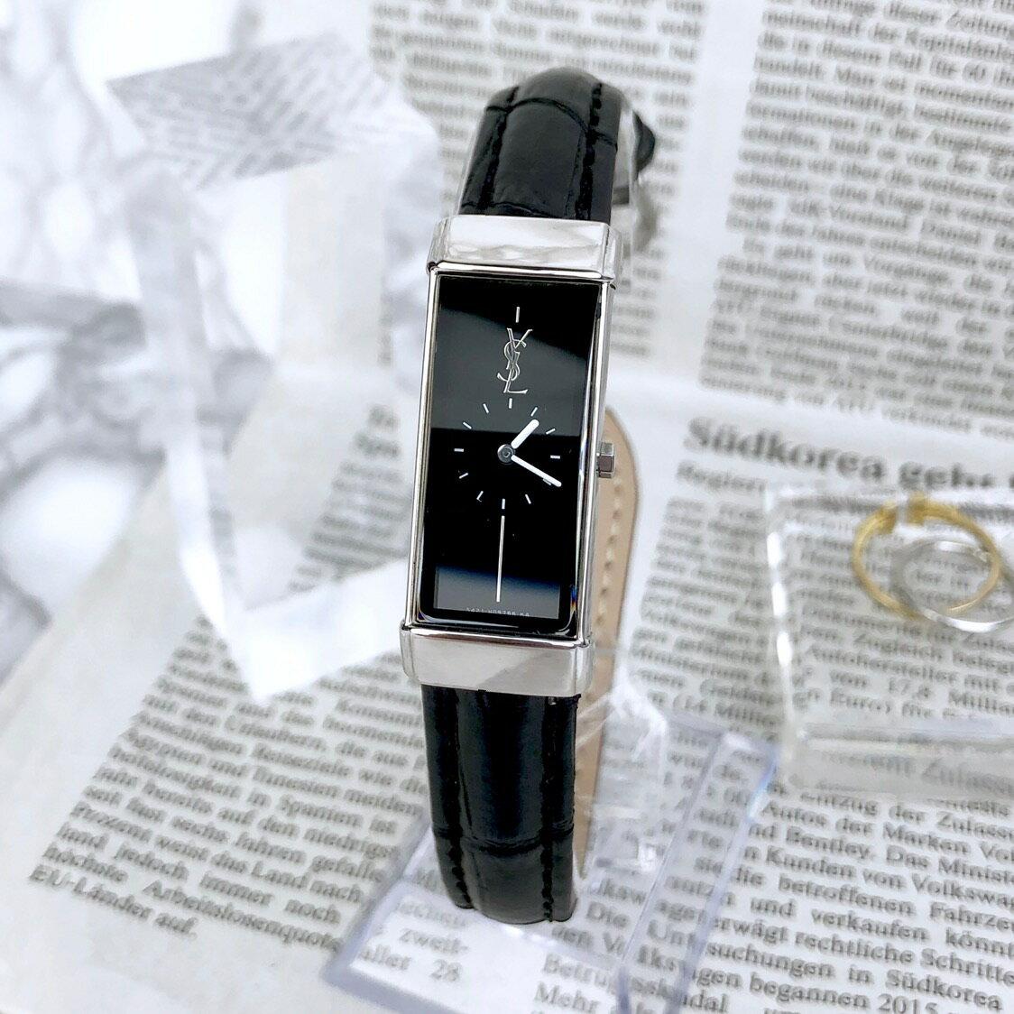 【仕上げ済/ベルト新品】サンローラン スクエア シルバー 電池交換済 レディース 腕時計 時計【中古】【送料無料】