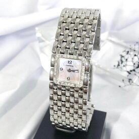 【OH済】カルティエ CARTIER リュバン ダイヤ ダイヤモンド ピンク文字盤 レディース 腕時計 時計 【中古】【送料無料】