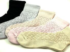 綿22/24メッシュ ゴム無しだから足首に優しい綿のメッシュ靴下足首ゆったりタイプ サイズ22〜24cm用途いろいろ介護用にも