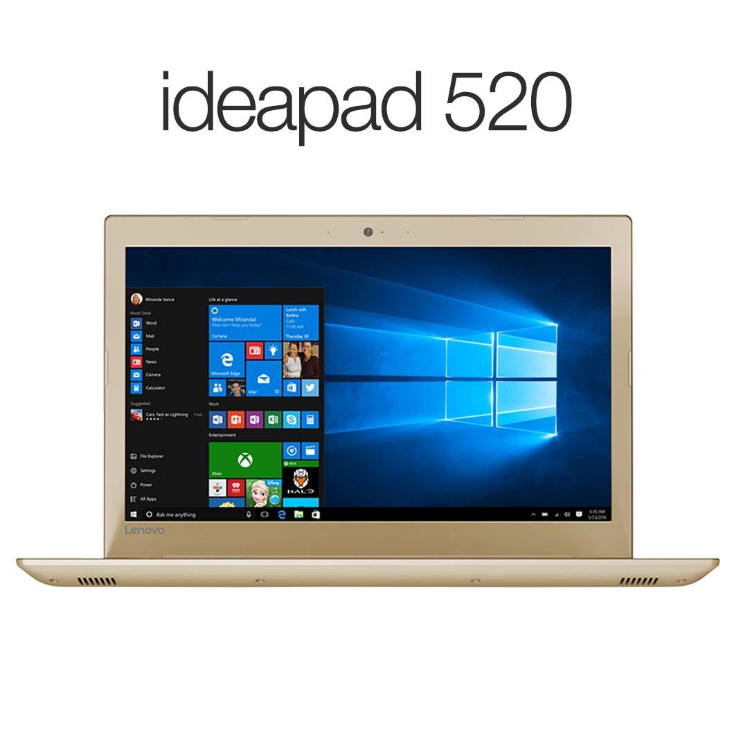 直販 ノートパソコン:Lenovo ideapad 520 Corei5搭載(15.6型 FHD/8GBメモリー/1TB HDD/Windows10/Officeなし/ゴールデン)【送料無料】
