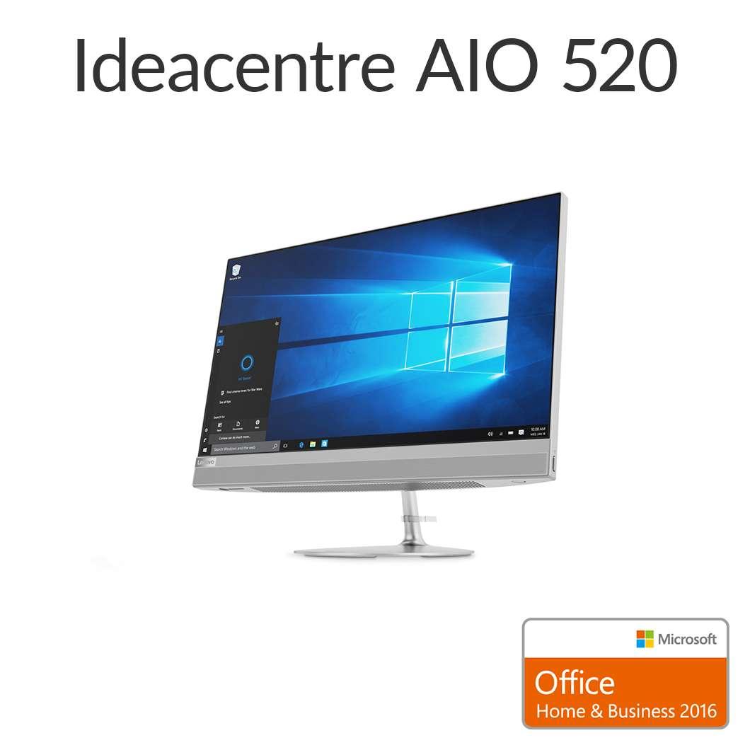 直販 デスクトップパソコン Officeあり:Lenovo ideacentre AIO 520 Core i5搭載(8GBメモリ/1TB HDD/21.5型 FHD液晶一体型/Microsoft Office Home & Business 2016/シルバー)【送料無料】