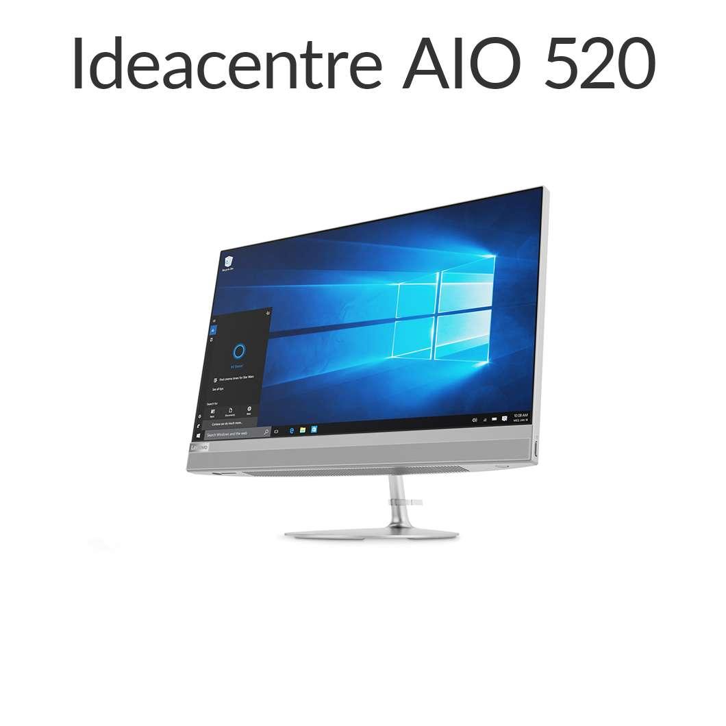 直販 デスクトップパソコン:Lenovo ideacentre AIO 520 Celeron搭載(4GBメモリ/1TB HDD/21.5型 FHD液晶一体型/Officeなし/シルバー)【送料無料】