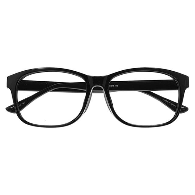 【国内加工の眼鏡セット 軽量 度付きメガネ】YUNIBA-TR1 BK
