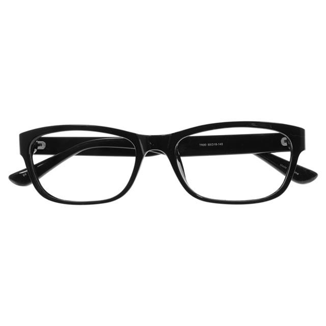 【2700円の眼鏡セット 軽量 度付きメガネ】YUNIBA-TR4 BK