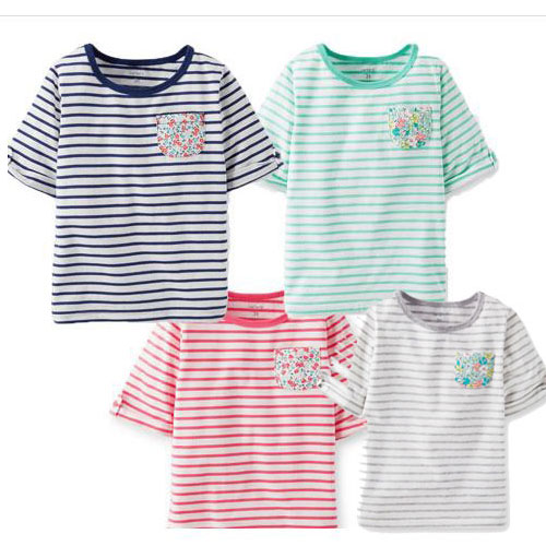 Carters カーターズ Tシャツ キッズ 子供服 女の子 5歳7歳 綿100% グレー7歳 緑5歳 7分袖ボーダー 110 120