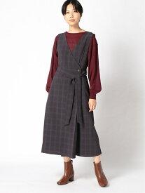 [Rakuten Fashion]【SALE/70%OFF】H/デザインチェックOP LEPSIM レプシィム ワンピース ノースリーブワンピース ブラウン グレー【RBA_E】
