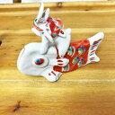 ラッピング無料!九谷焼 端午の節句九谷焼 陶人形作家 多田利子作『鯉にかぶとうさぎ』/赤【楽ギフ_包装】