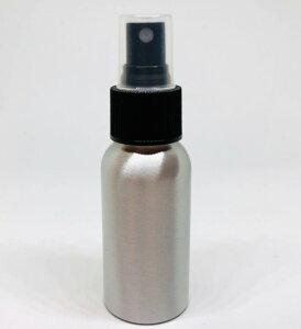 【スプレー容器】50ml アルミニウム 銀色 黒ノズル ポーチサイズ アロマ 遮光 軽量 強度 お掃除 除菌 消臭 詰め換え 詰替 細かいミスト