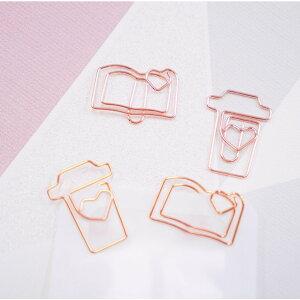 【cup book ペーパー クリップ】20個 ピンク ゴールド 文房具 文具 事務用品 デスクアイテム ギフト 装飾 おしゃれ かわいい ステーショナリー ゼムクリップ