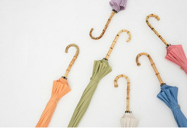 【送料無料】tiohoh 傘 レディース 16本 持ち手 バンブー おしゃれ 長傘 レディー ブランド 手開き 撥水 無地 竹製手元 エレガント 親骨55cm