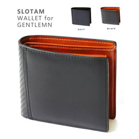【送料無料】SLOTAM 財布 メンズ 二つ折り 本革 オリジナルボックス付属 プレゼント 小銭入れ ウォレット