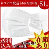 マスク 50枚 +1枚 (17枚×3袋) 三層構造 使い捨て 男女兼用 レギュラーサイズ