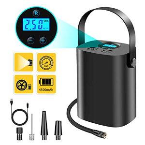 【充電式コードレス 4500mah超大容量】Wowcam 自動車 空気入れ 電動 エアコンプレッサ コードレス 自転車 エアポンプ小型電動ポンプ
