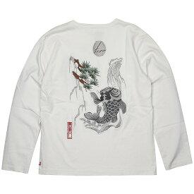 (イオラニ) 居楽仁 鯉の滝登り柄スカロンT (LS:TEE)(153803-WH) ロンT 長袖 Tシャツ カットソー 国内正規品