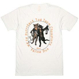 """(ハオミン) HAOMING×ANIMAL """"PURRR""""FECT TAG TEAM TSHIRT (SS:TEE)(1625-26-WH) Tシャツ 半袖 カットソー 動物 猫 キャット 国内正規品"""