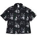 (ハオミン) HAOMING×GREAT MUTA ALOHA SHIRT (SS:SHIRT)(220-50-BK) シャツ 半袖 アロハ セットアップ可能 ザ・グレート・ムタ レジェ…