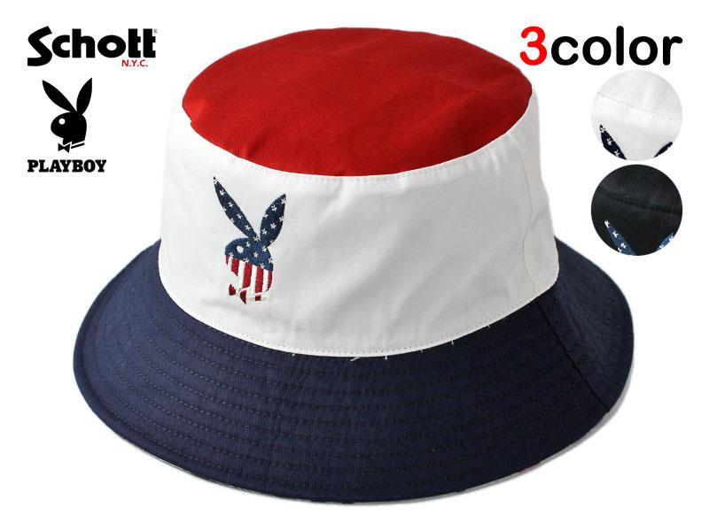 ショット プレイボーイ コラボ バケットハット 帽子 メンズ レディース Schott PLAYBOY リバーシブル アメカジ M L [ あす楽 ] [ wt bk ptn ]