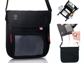LiberFlyer パスフィットミニ(PASSFIT-mini)スキミング防止 首掛け パスポート ケース 首下げ パスポート入れ パスポートカバー パスポートケース スキミング 貴重品入れ 貴重品管理 トラベルグッズ リバーフライヤー(黒×赤ファスナー)