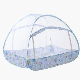 ワンタッチ式 ベビー蚊帳 ベッド ドーム蚊帳 底面付き 虫除け 虫刺され防止 虫よけ ◇FAM-BB-BEDKY