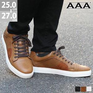 【クーポン配布中】スニーカー ローカット メンズ 異素材 スタッズ インソール クッション 歩きやすい 靴 シューズ レースアップ No.2398 25.0cm〜27.0cm 黒 ブラック AAA+ サンエープラス