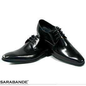 【SARABANDE】 サラバンド 7760#BL プレーントゥ 外羽根 レースアップ ビジネスシューズ ブラック