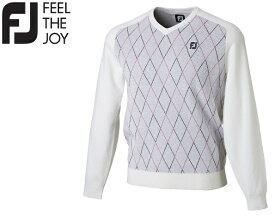 フットジョイ ゴルフ メンズ ウェア セーター【FootJoy】Vネック アーガイルセーターカラー:ホワイト(85926)FJ-F18-M02ラッキーシール対応