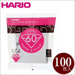 HARIO ハリオ V60用ペーパーフィルター02W VCF-02-100W 100枚入り 1〜4杯用