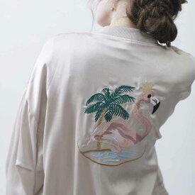 フラミンゴ刺繍ジャケット ■ レディース 刺繍 春 夏 秋 冬