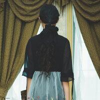 【11月29日20時新作】刺繍入りチュール重ねハイウエスト切り替えワンピース