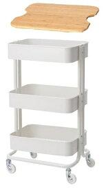IKEA イケア キッチンワゴン+まな板セット RASKOG ロースコグ ホワイト 35x45x78 cm ホーグスマ 韓国北欧
