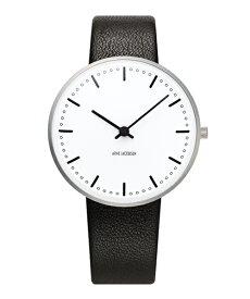 ARNE JACOBSEN City Hall Watch Leather 34mm(34mm ホワイト×ブラック)(ケース53201)(ベルト1601)