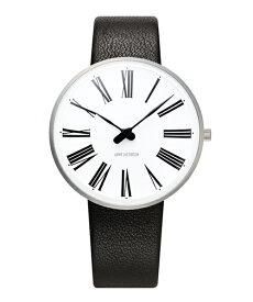ARNE JACOBSEN Roman Watch Leather 34mm(34mm ホワイト×ブラック)(ケース53301)(ベルト1601)