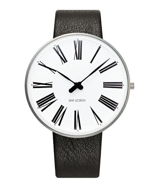 ARNE JACOBSEN Roman Watch Leather 40mm(40mm ホワイト×ブラック)(ケース53302)(ベルト2001)