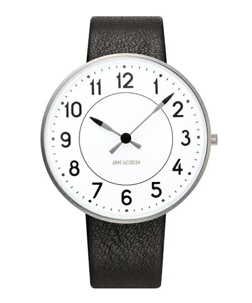 ARNE JACOBSEN Station Watch Leather 40mm(40mm ホワイト×ブラック)(ケース53402)(ベルト2001)