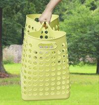 ランドリーバスケットL(深型)(メッシュ)洗濯かご、脱衣かごポピンズL(フタ付)