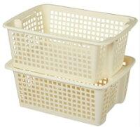 積み重ねバスケット収納バスケットホップアップバスケットM(浅型)L(深型)セット【2色から選べます】